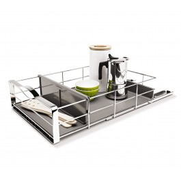 Our pull-out cabinet organizer helps you reduce clutter and utilize all your hard-to-reach cabinet space with ease. The cabinet frame is constructed from heavy-gauge steel that holds up to 20 lb. And a durable, removable drip guard protects your cabinets from messy spills and leaks. Installs easily with pre-aligned commercial-grade ball-bearing tracks.