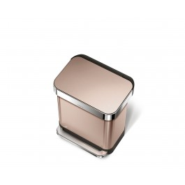 Our new rose gold steel rectangular step can features an innovative 'liner pocket' that stores and dispenses liners from inside the can for a faster liner change. The stainless steel liner rim grips the liner and keeps it hidden. And with no inner bucket, there's more space for trash. Strong wide steel pedal is designed to last, and our patented lid shox technology ensures a smooth, silent close every time.       Code F liner refill packs store perfectly in this can's liner pocket.