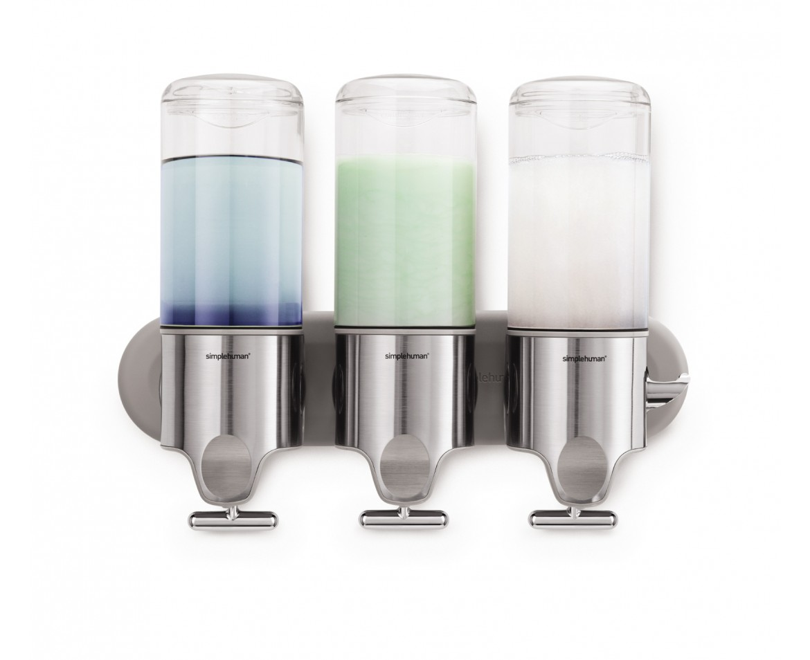 Simplehuman triple wall mount soap pumps - Wall mounted shampoo conditioner dispenser ...