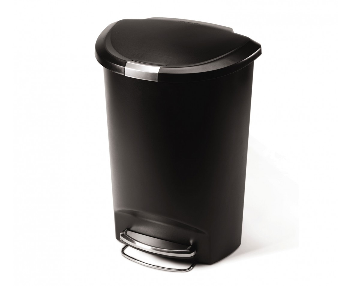 Simplehuman 50l Semi Round Black Plastic Step Trash Can