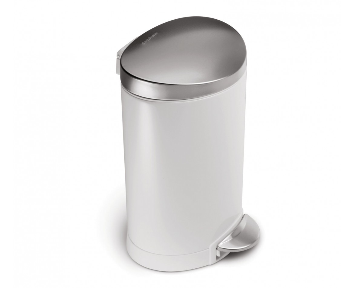 simplehuman 6l semi round white steel step trash can