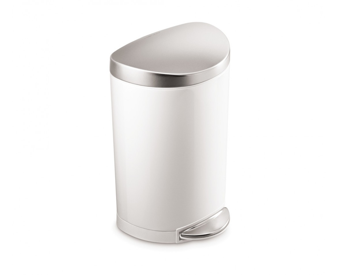 10L White Steel Semi-round Step Can Trash Can W/ Stainless Steel Lid