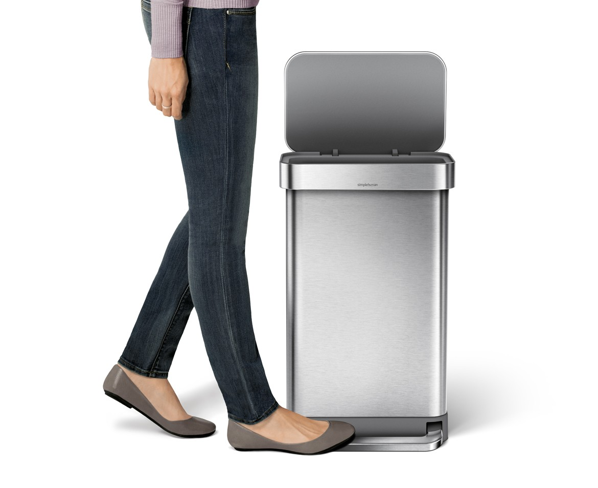 simplehuman 45l rectangular steel step trash can w liner pocket. Black Bedroom Furniture Sets. Home Design Ideas