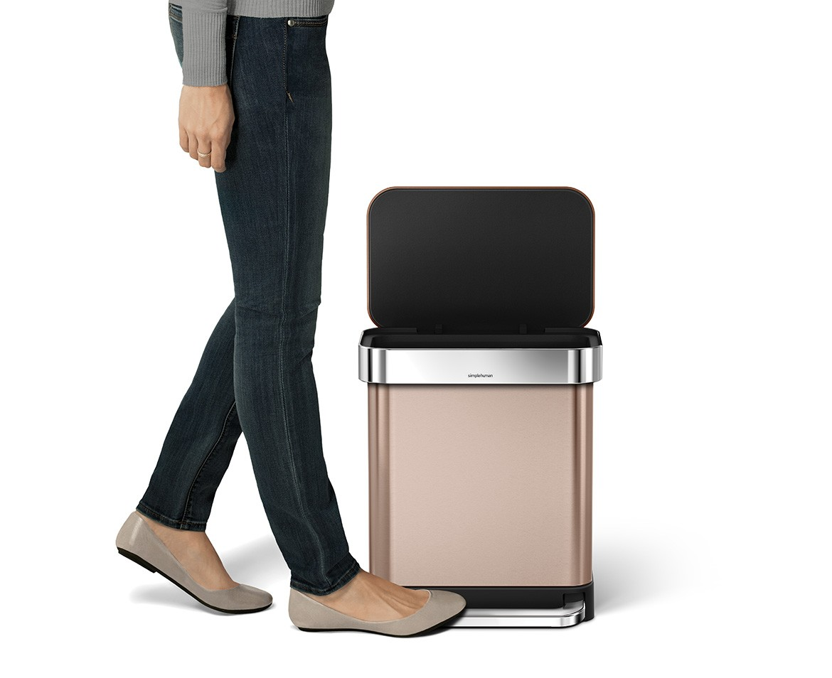 simplehuman 30l rose gold stainless steel rectangular step trash can w liner pocket. Black Bedroom Furniture Sets. Home Design Ideas