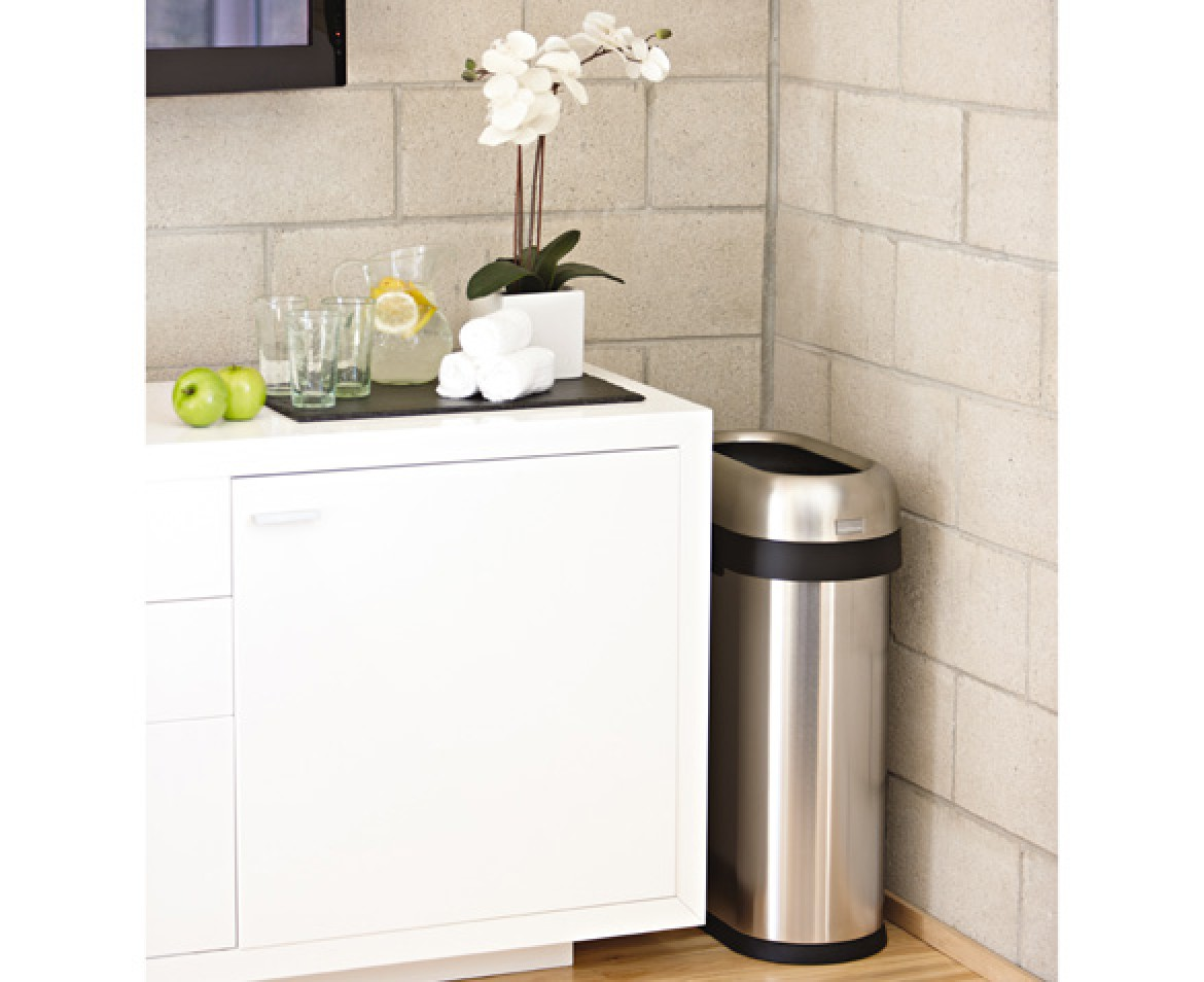 simplehuman 50l slim steel open trash can. Black Bedroom Furniture Sets. Home Design Ideas