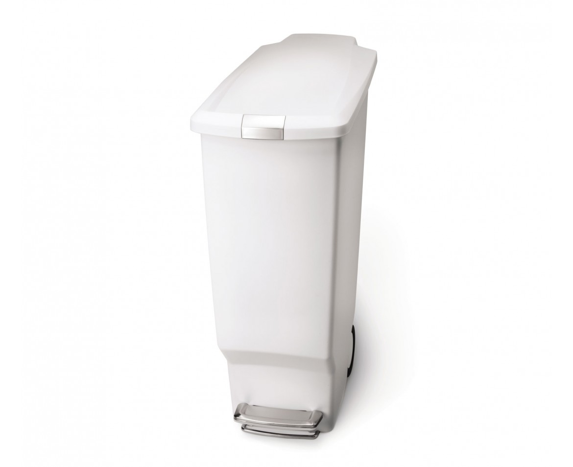 Simplehuman 40l Slim White Plastic Step Trash Can