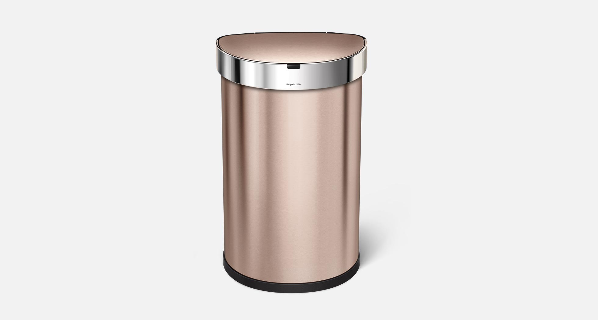 Simplehuman 45l semi round rose gold stainless steel for Gold bathroom bin