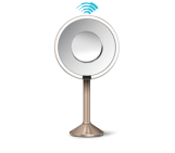 sensor mirror pro, 8 inch round, rose gold, 5x + 10x magnification, adjustable color temperature, wifi-enabled