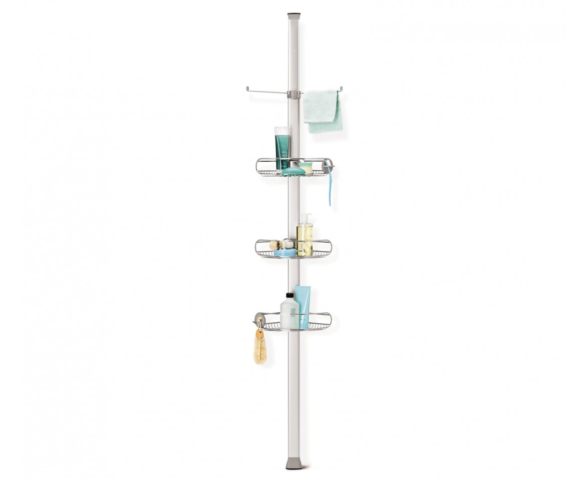 Simplehuman tension shower caddy stainless steel for Floor to ceiling shower caddy