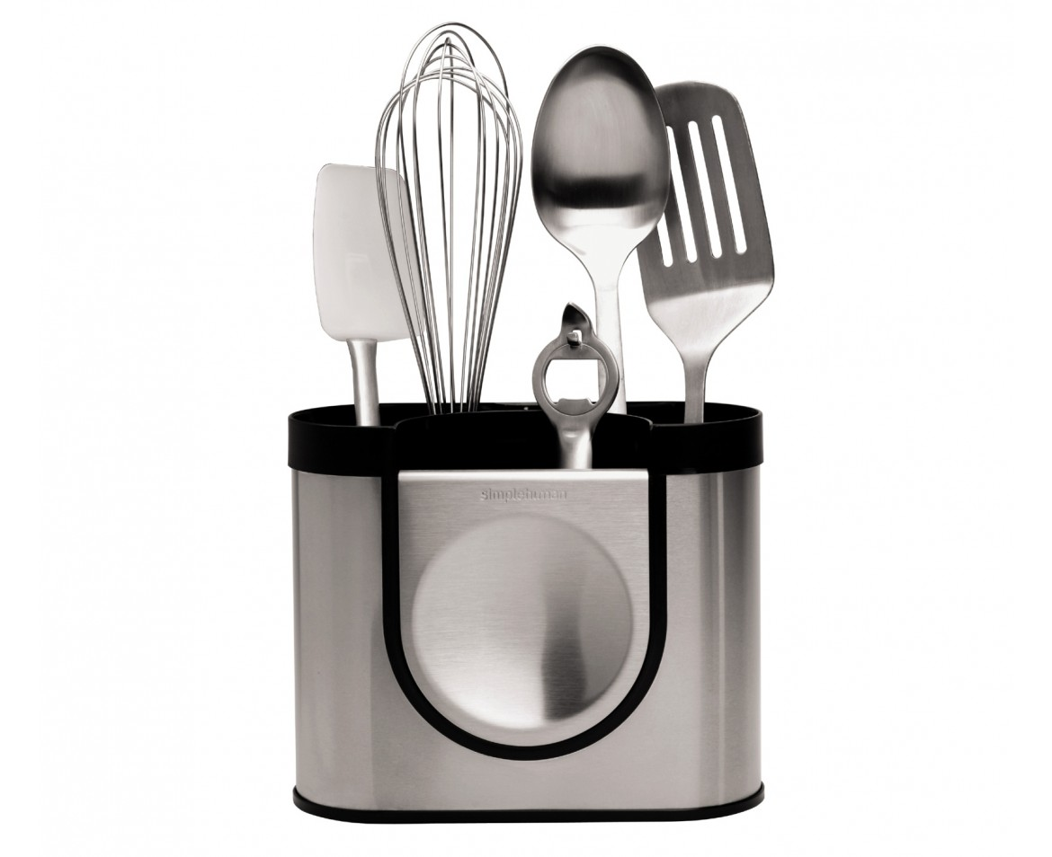 Simplehuman utensil holder brushed stainless steel for Kitchen utensil holder
