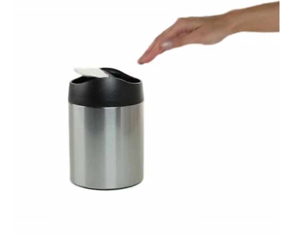 Countertop Garbage Can : simplehuman 1.5L small steel countertop trash can
