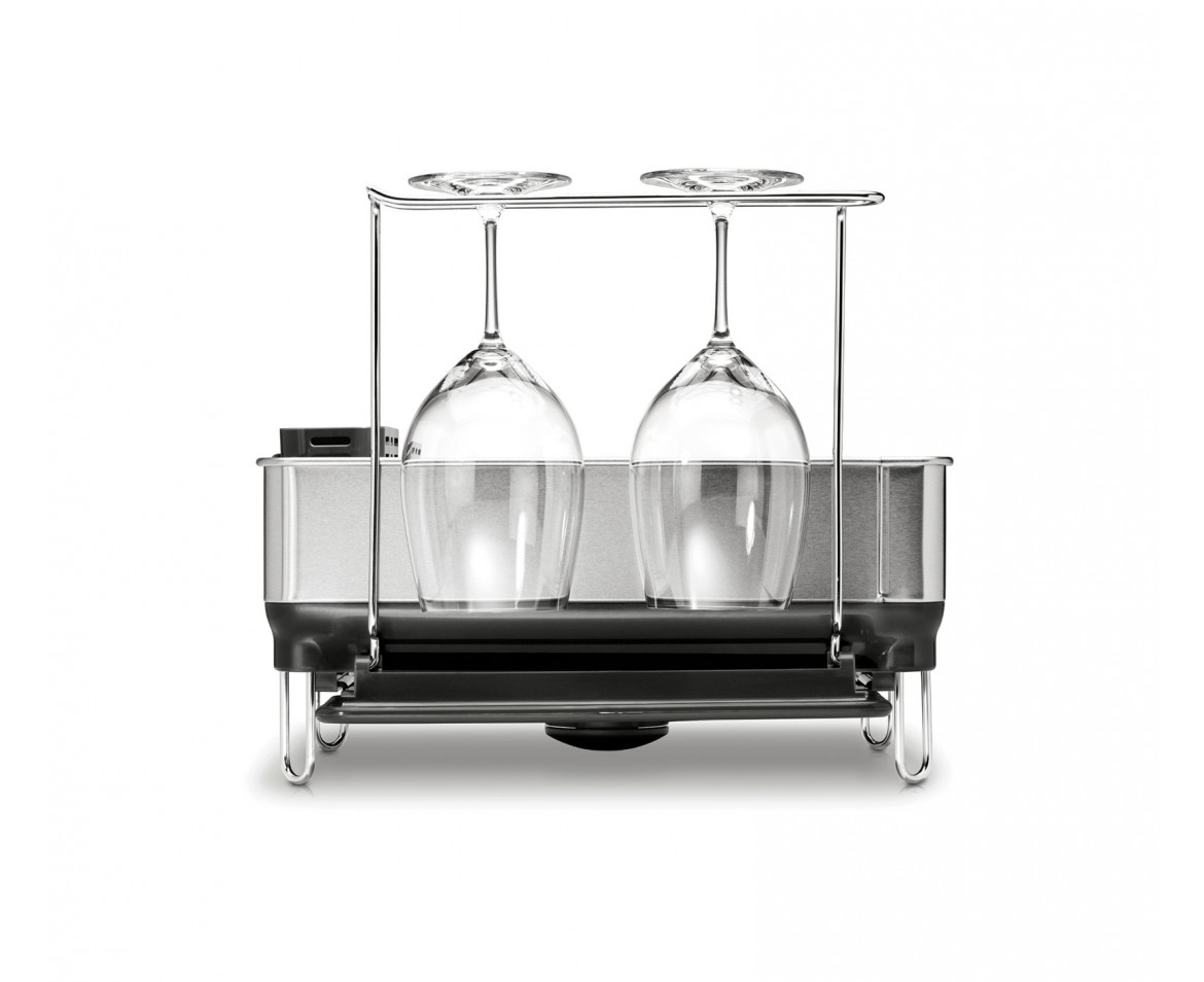 simplehuman compact steel frame dishrack with wine glass