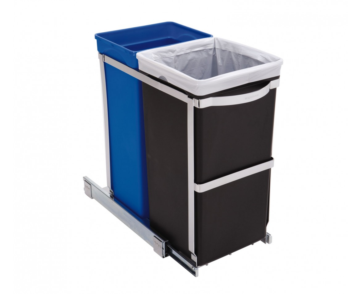 simplehuman 35l pull out trash can recycler. Black Bedroom Furniture Sets. Home Design Ideas