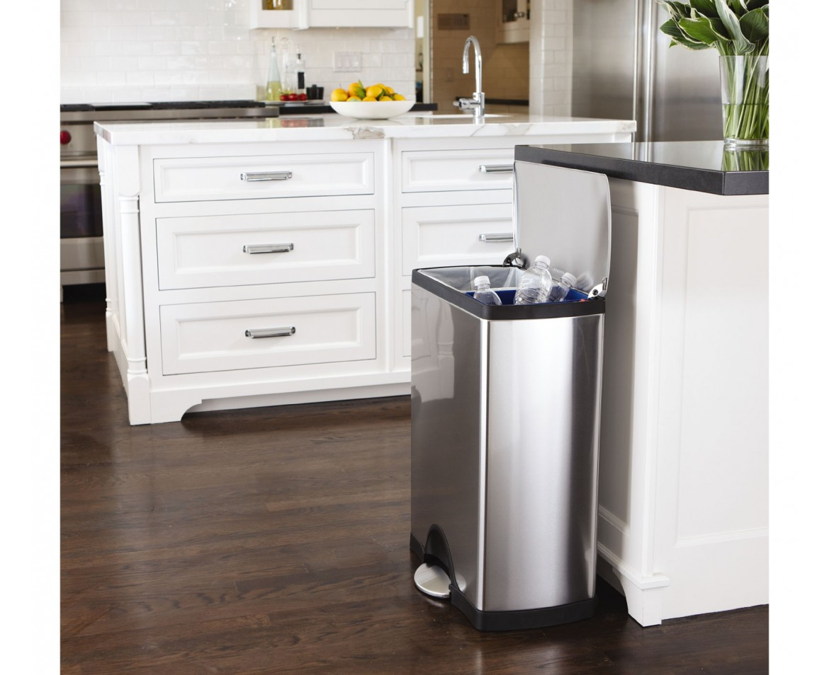simplehuman 46l rectangular steel recycler trash can. Black Bedroom Furniture Sets. Home Design Ideas