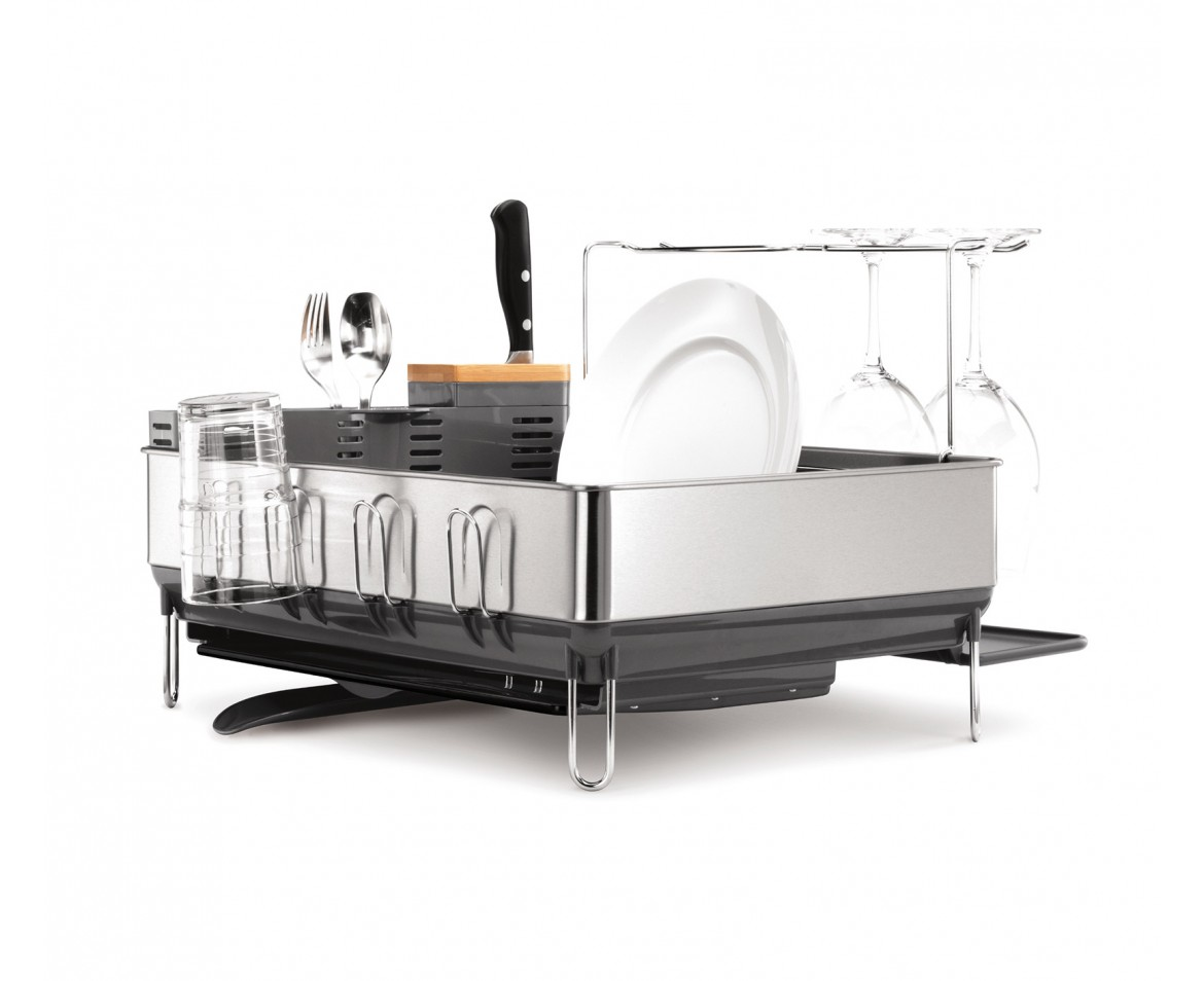 Simplehuman Grey Steel Frame Dishrack W Wine Glass Holders