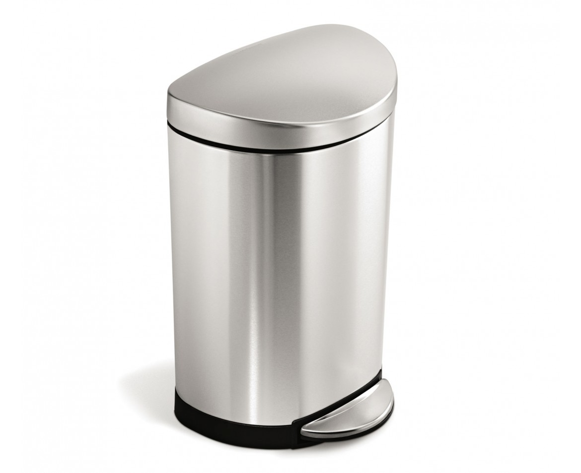 White Bathroom Bin simplehuman | 10 litre, semi-round pedal bin, fingerprint-proof