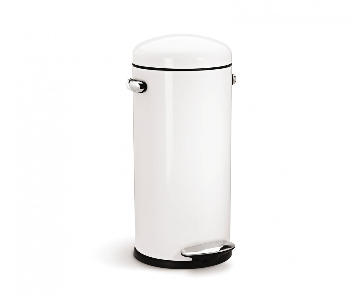 White Kitchen Bin simplehuman | 30 litre, retro pedal bin, white steel