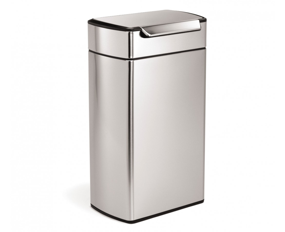 White Kitchen Bin simplehuman | 40 litre, rectangular touch-bar bin, fingerprint
