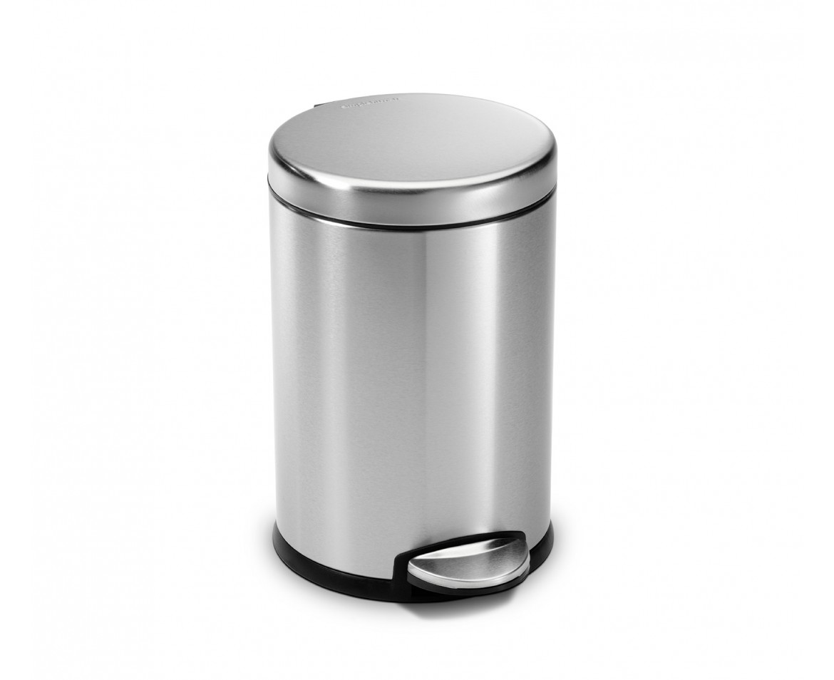 White Bathroom Bin simplehuman | 4.5 litre, round pedal bin, fingerprint-proof