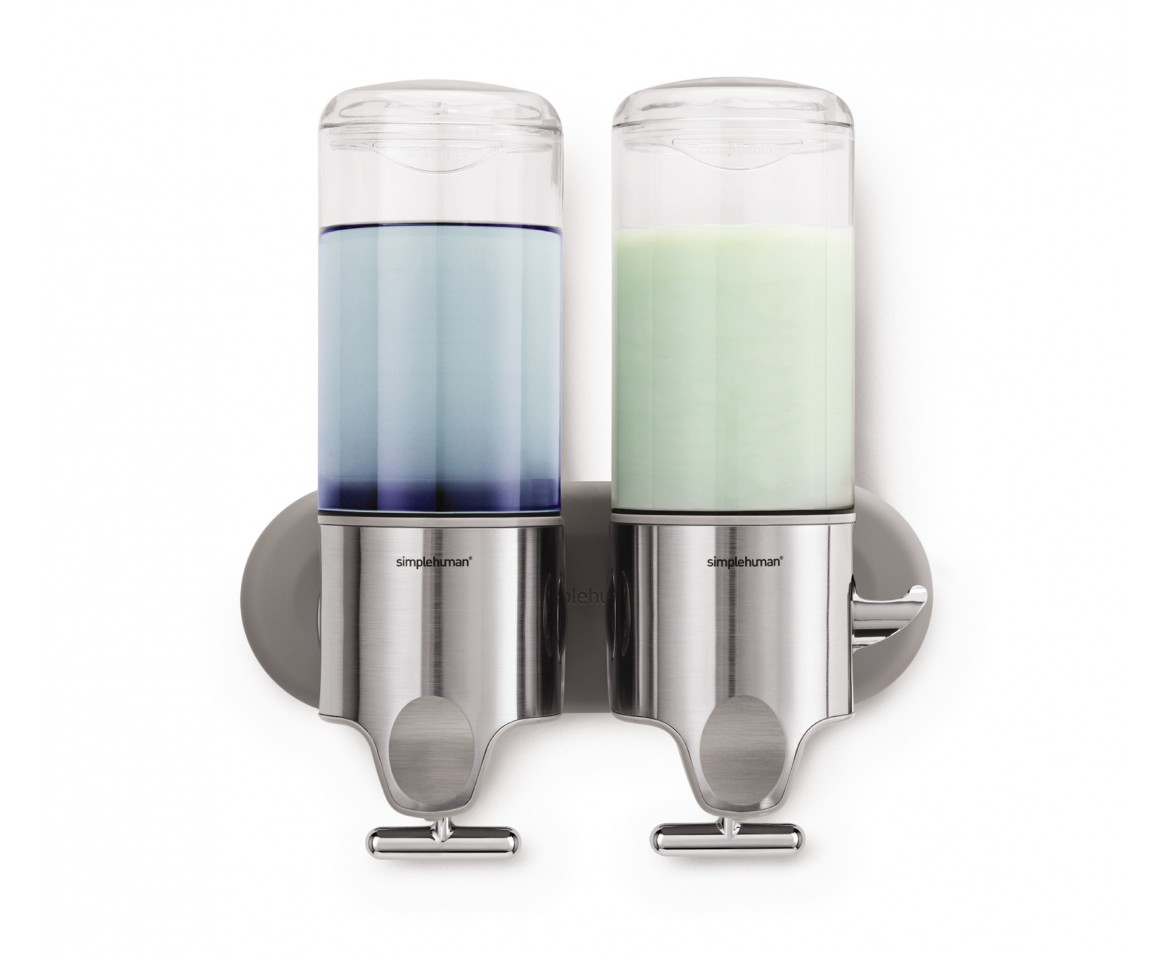 simplehuman twin wall mount pumps stainless steel 444ml
