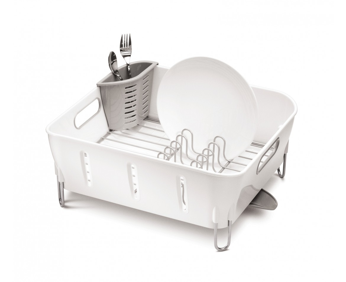 Kitchen Dish Rack Simplehuman Compact Dishrack White