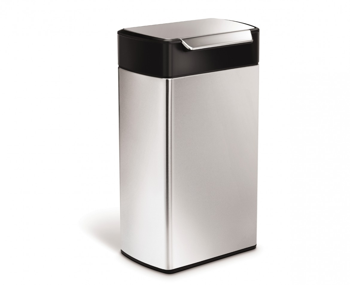 simplehuman 40 litre rectangular touch bar bin fingerprint proof stainless steel black top. Black Bedroom Furniture Sets. Home Design Ideas