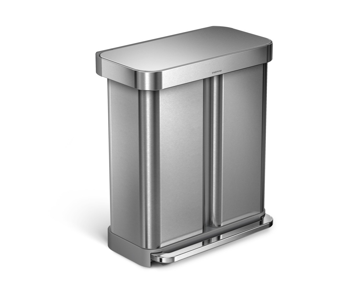 Simplehuman | 58 Litre, Rectangular Dual Compartment Pedal Bin With Liner  Pocket, Stainless Steel