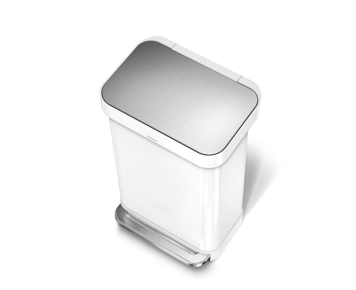 Simplehuman | 45 Litre, Rectangular Pedal Bin With Liner Pocket, White Steel