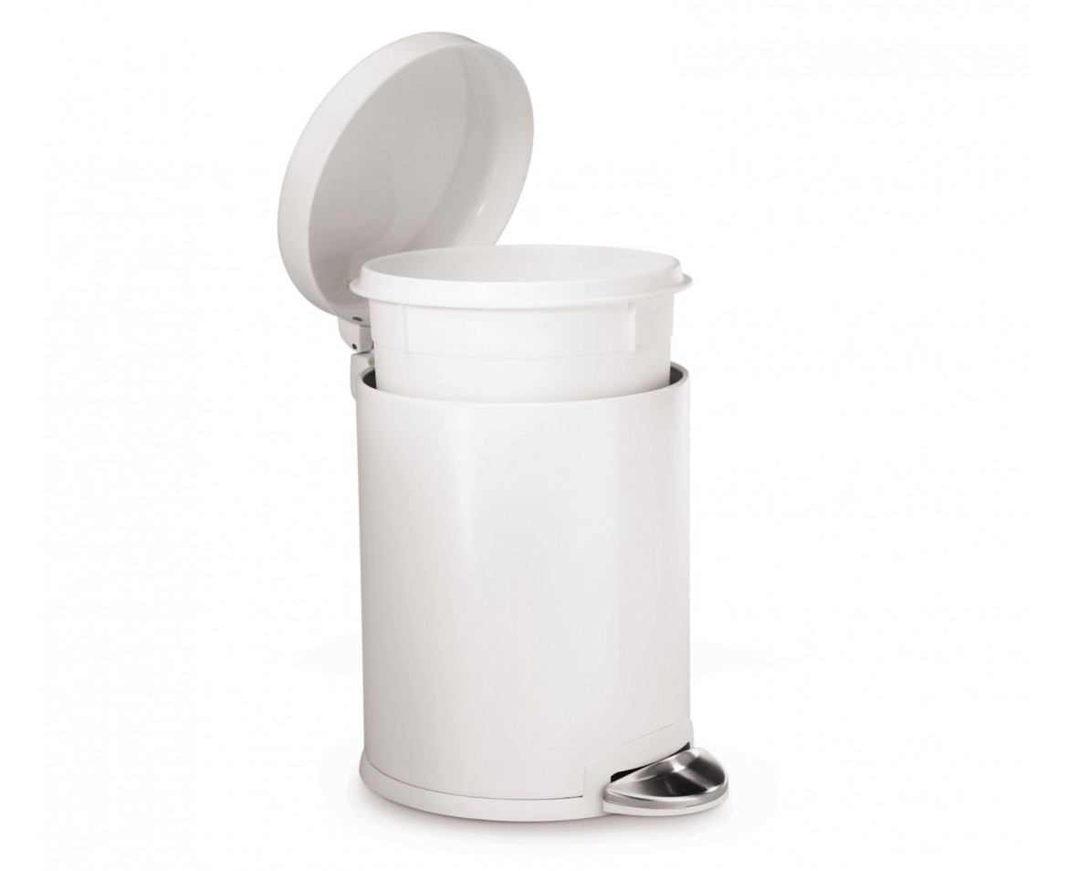 White Bathroom Bin simplehuman | 4.5 litre, mini round pedal bin, white steel