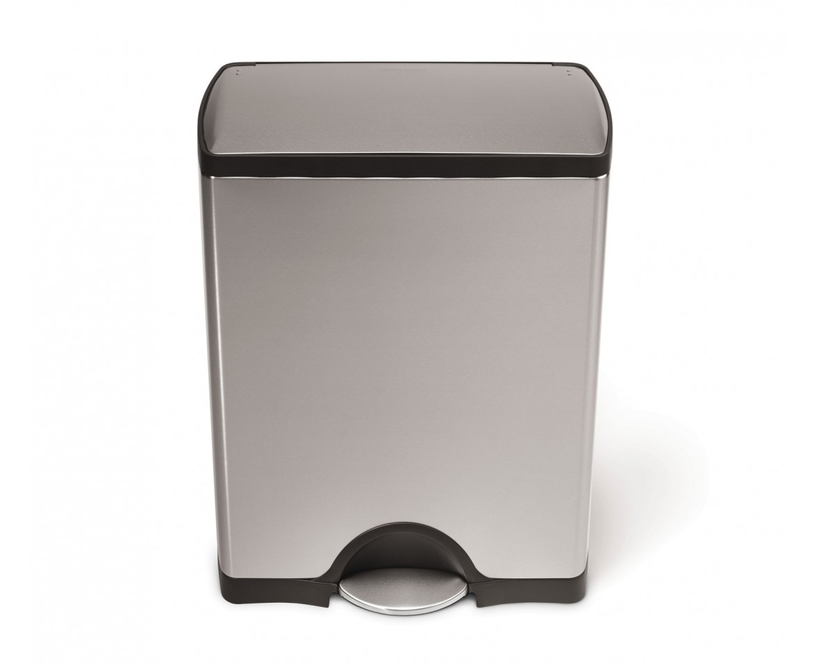 Simplehuman | 50 Litre, Rectangular Pedal Bin, Fingerprint Proof Stainless  Steel