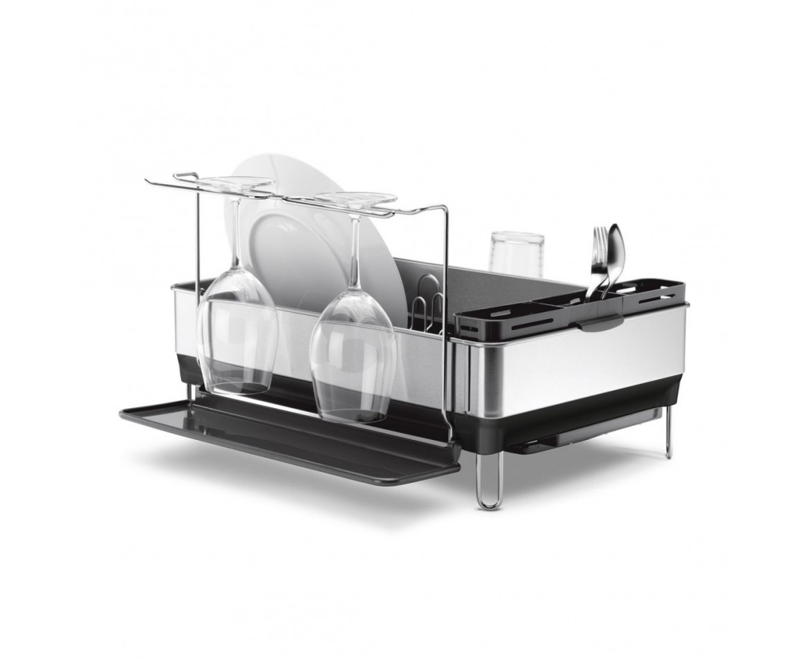 simplehuman dish rack simplehuman steel frame dishrack with wine glass holder 10501