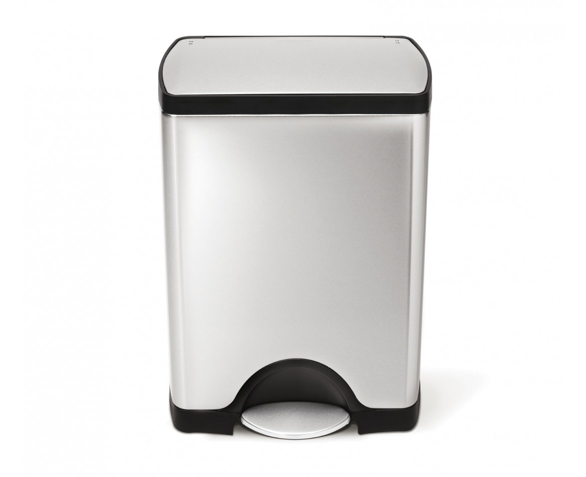 White Bathroom Bin simplehuman | 30 litre, rectangular pedal bin, fingerprint-proof