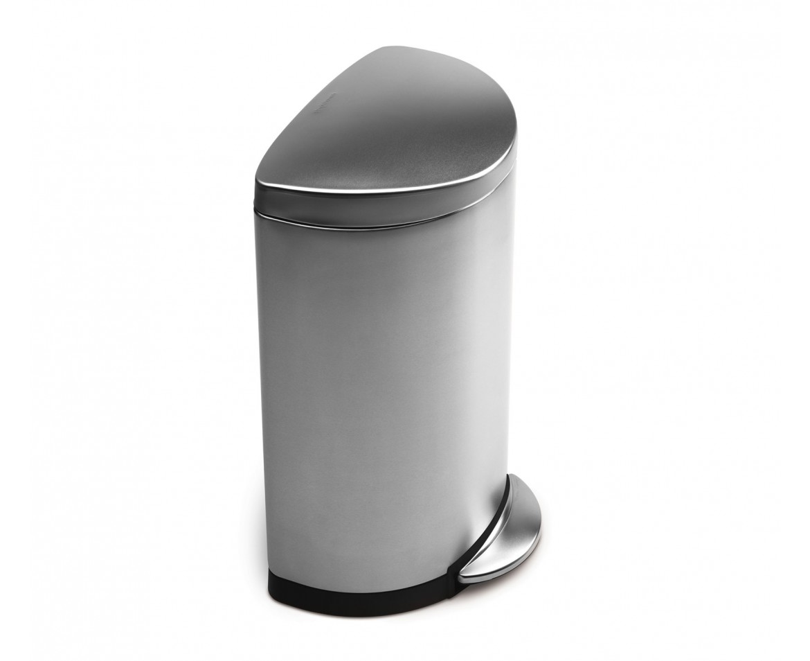 simplehuman   40 litre  semi round pedal bin  fingerprint proof brushed stainless steel. simplehuman   40 litre  semi round pedal bin  fingerprint proof