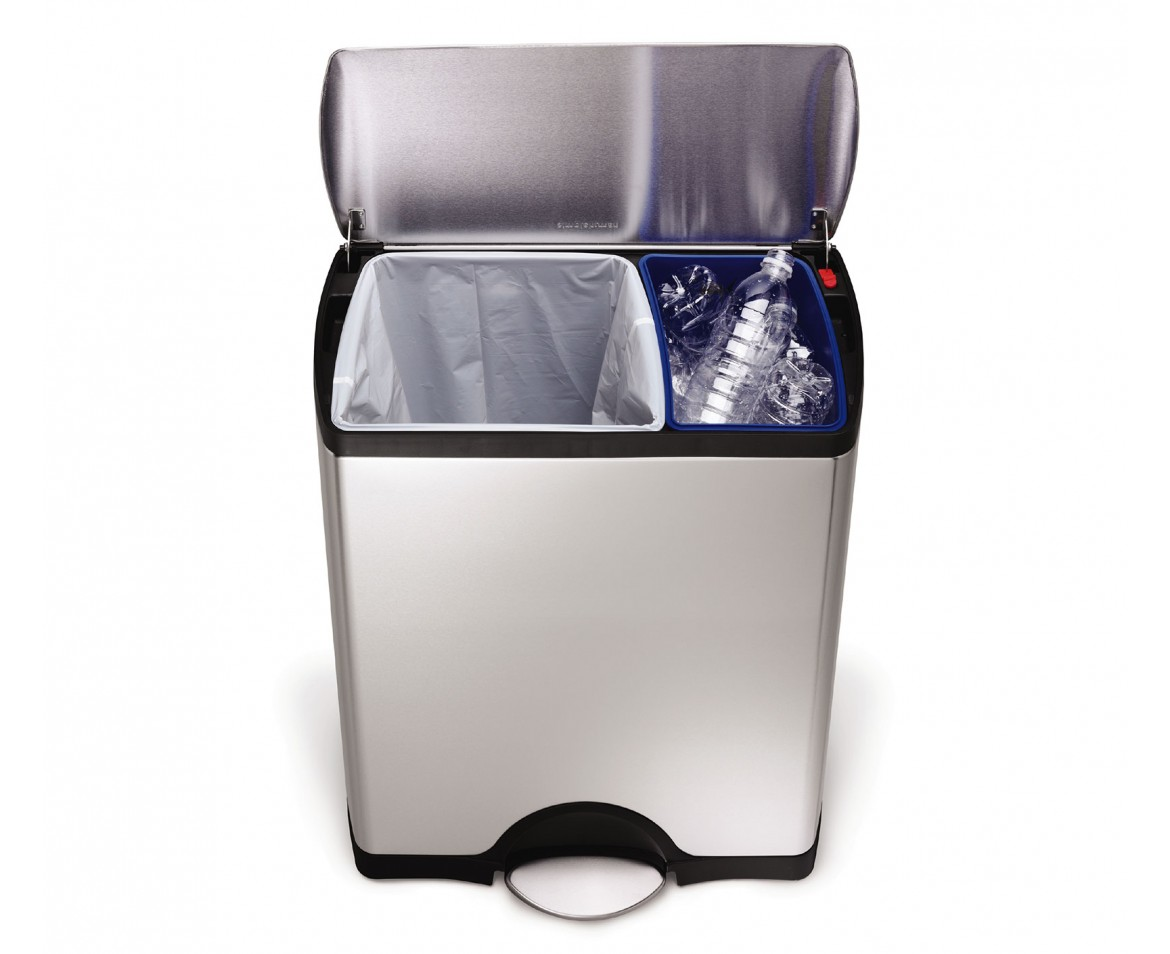 simplehuman | 46 litre, rectangular recycler, fingerprint-proof ...