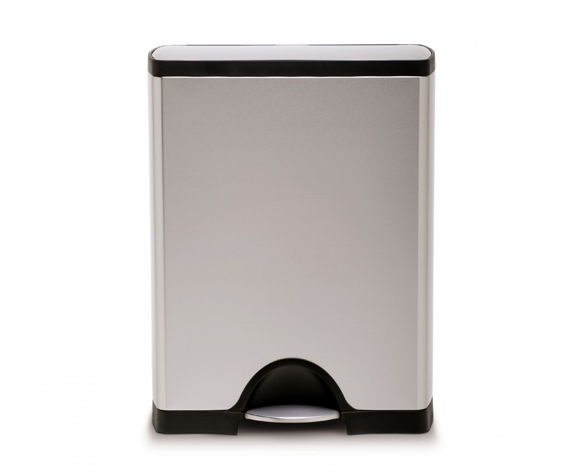 White Kitchen Bin simplehuman | 50 litre, rectangular pedal bin, fingerprint-proof