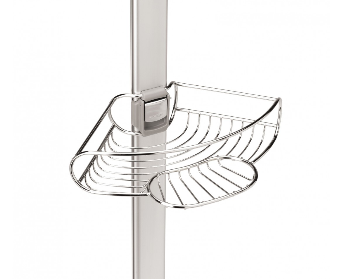 simplehuman | tension shower caddy, stainless steel + anodised aluminium