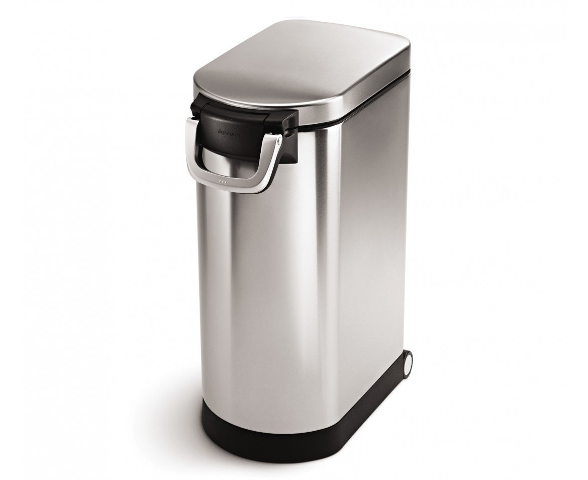 Stainless steel storage containers for kitchen - Simplehuman X Large Pet Food Bin Fingerprint Proof Brushed Stainless Steel