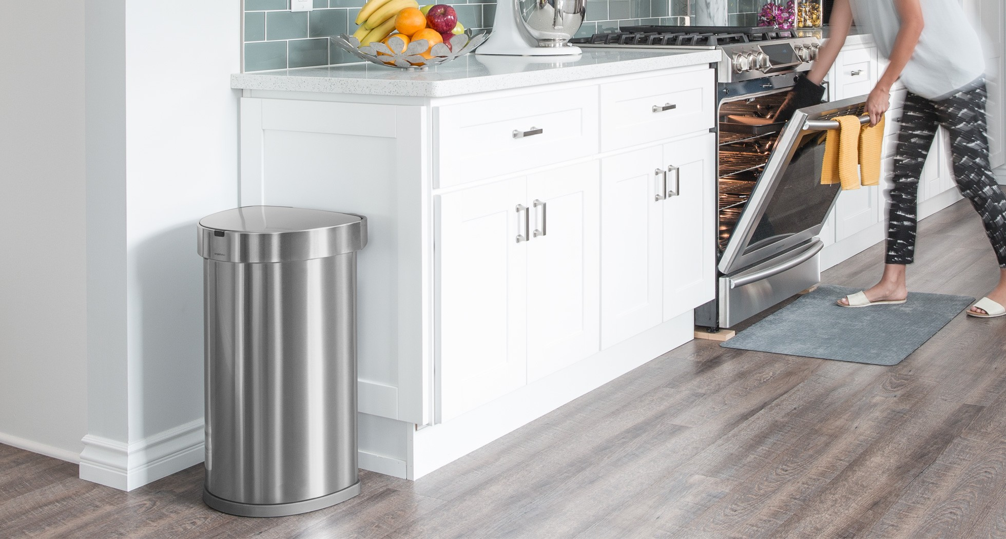 Simplehuman | 45 Litre Semi Round Sensor Bin, With Liner Pocket Stainless  Steel