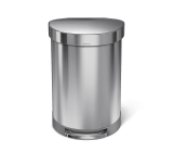 60 litre, semi-round bin with liner rim, stainless steel