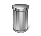 45 litre, semi-round step bin with liner rim, stainless steel