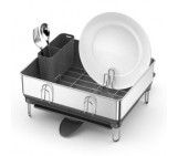 compact steel frame dishrack with wine glass holder, fingerprint-proof stainless steel | grey