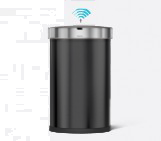 45 litre, semi-round sensor bin with liner pocket, black stainless steel