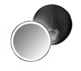 10cm sensor mirror compact, black stainless steel