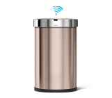 45 litre, semi-round sensor bin with liner pocket, rose gold stainless steel