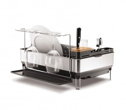 steel frame dishrack with wine glass holder - retina