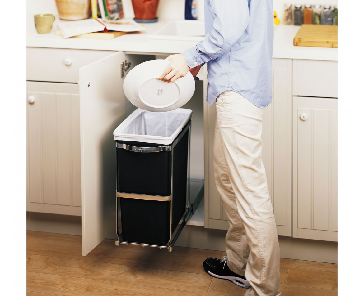 Kitchen Cabinet Garbage Drawer Simplehuman 30l Commercial Grade Pull Out Trash Can