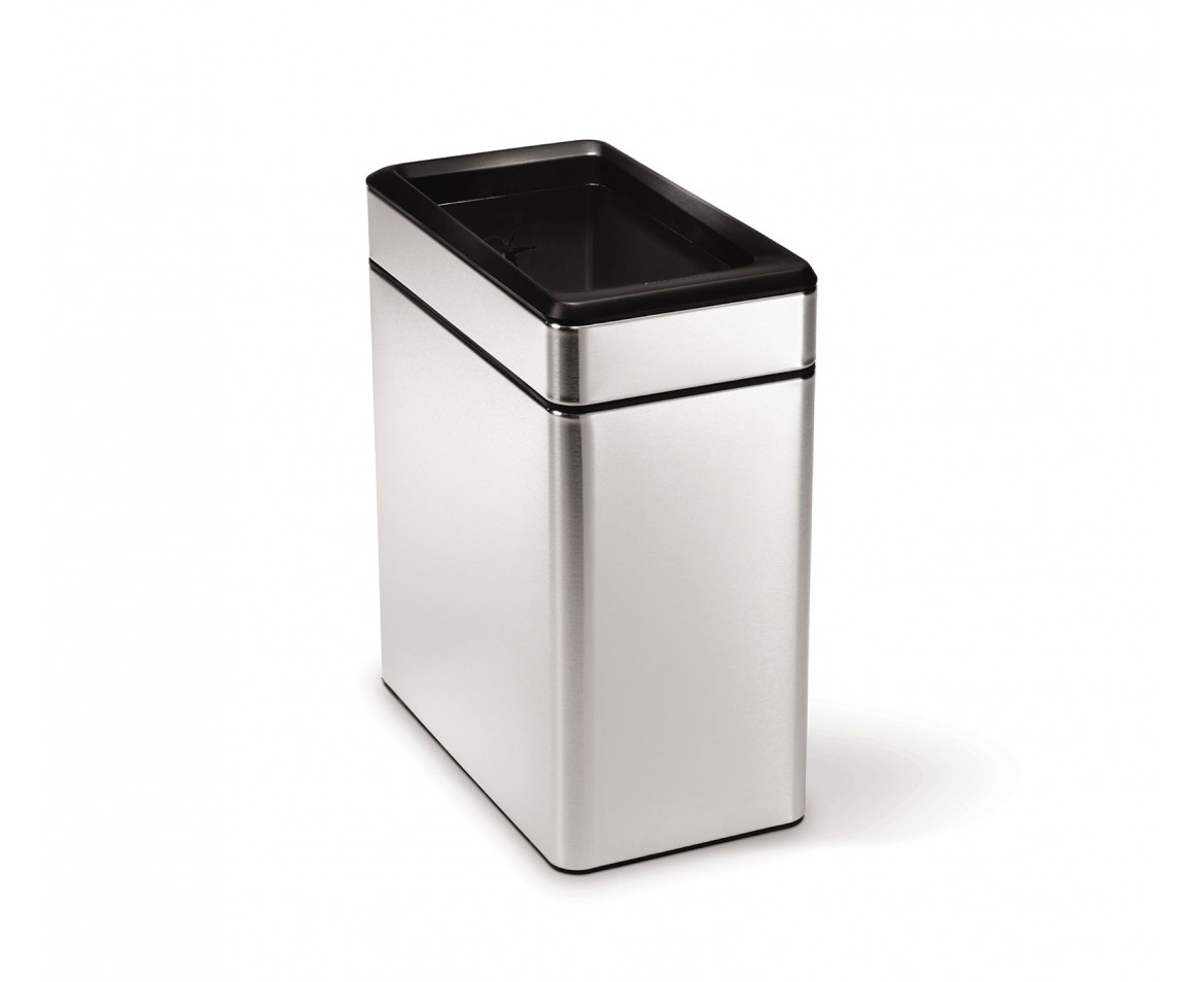 simplehuman 10 litres poubelle troite ouverte acier inoxydable bross. Black Bedroom Furniture Sets. Home Design Ideas