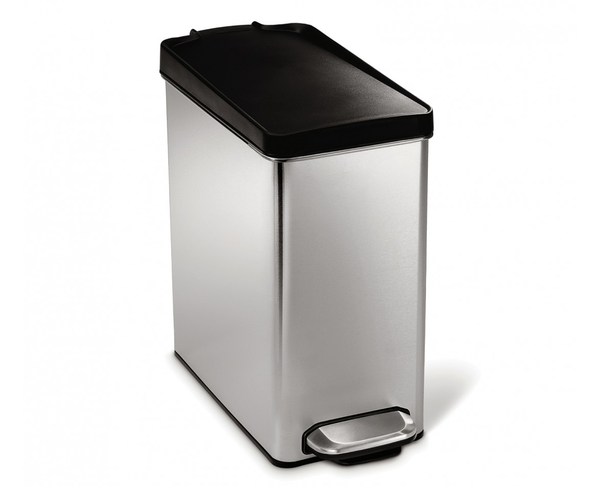 simplehuman 10 litres poubelle troite p dale acier inoxydable bross couvercle en plastique. Black Bedroom Furniture Sets. Home Design Ideas