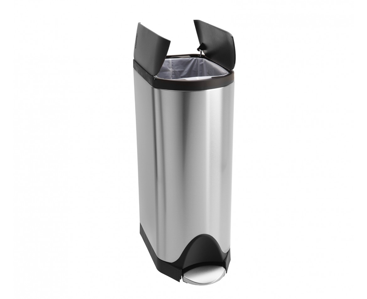 simplehuman 30 litres poubelle papillon p dale acier inoxydable bross anti traces. Black Bedroom Furniture Sets. Home Design Ideas