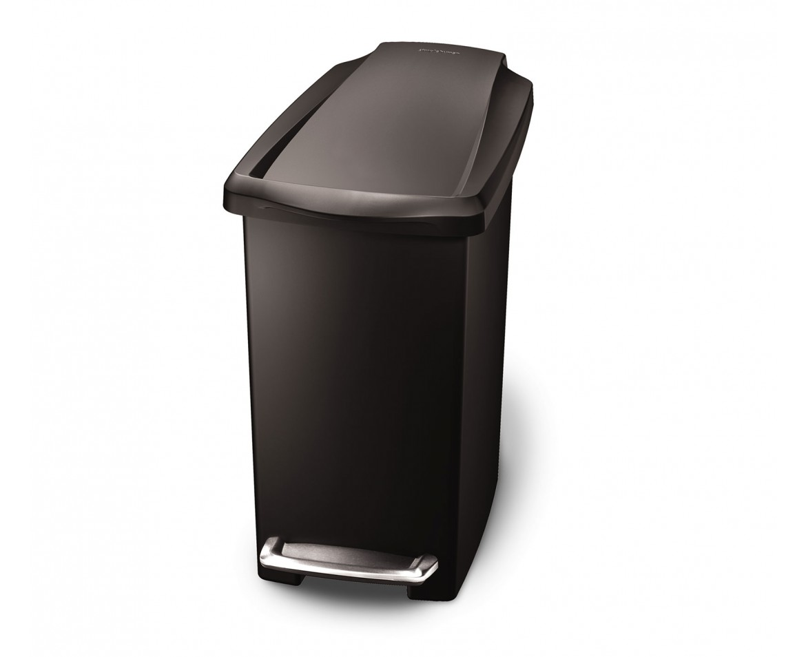simplehuman 10 litres poubelle troite p dale plastique noir. Black Bedroom Furniture Sets. Home Design Ideas